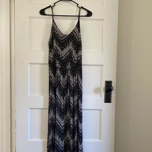 Black and white patterned maxi dress